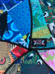 An array of Pink Lake Road original designs on neoprene fabric, used to make the Stand Up Paddleboard bags