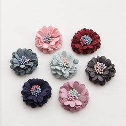 5pcs/lot 3cm Fabric Flower Fiber leather Flower Decoration Flower For DIY Accessories Craft Handmade DIY Supplies