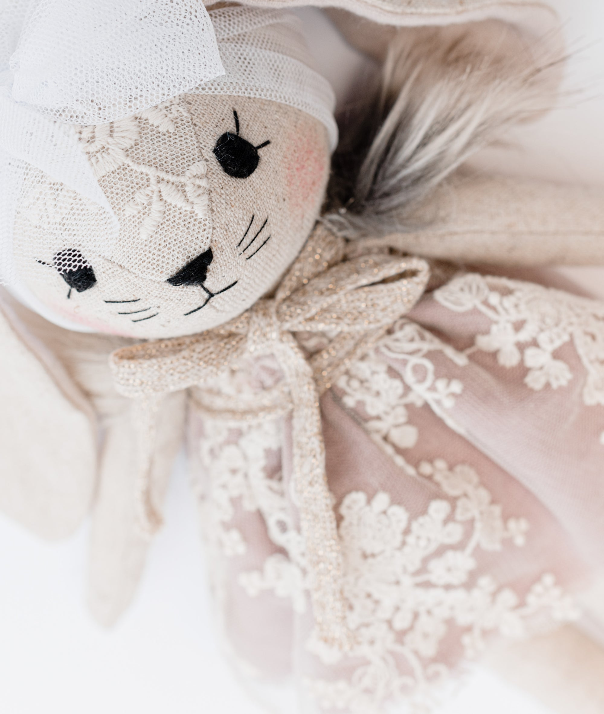 BUNNY WITH LAVENDER LACE DRESS