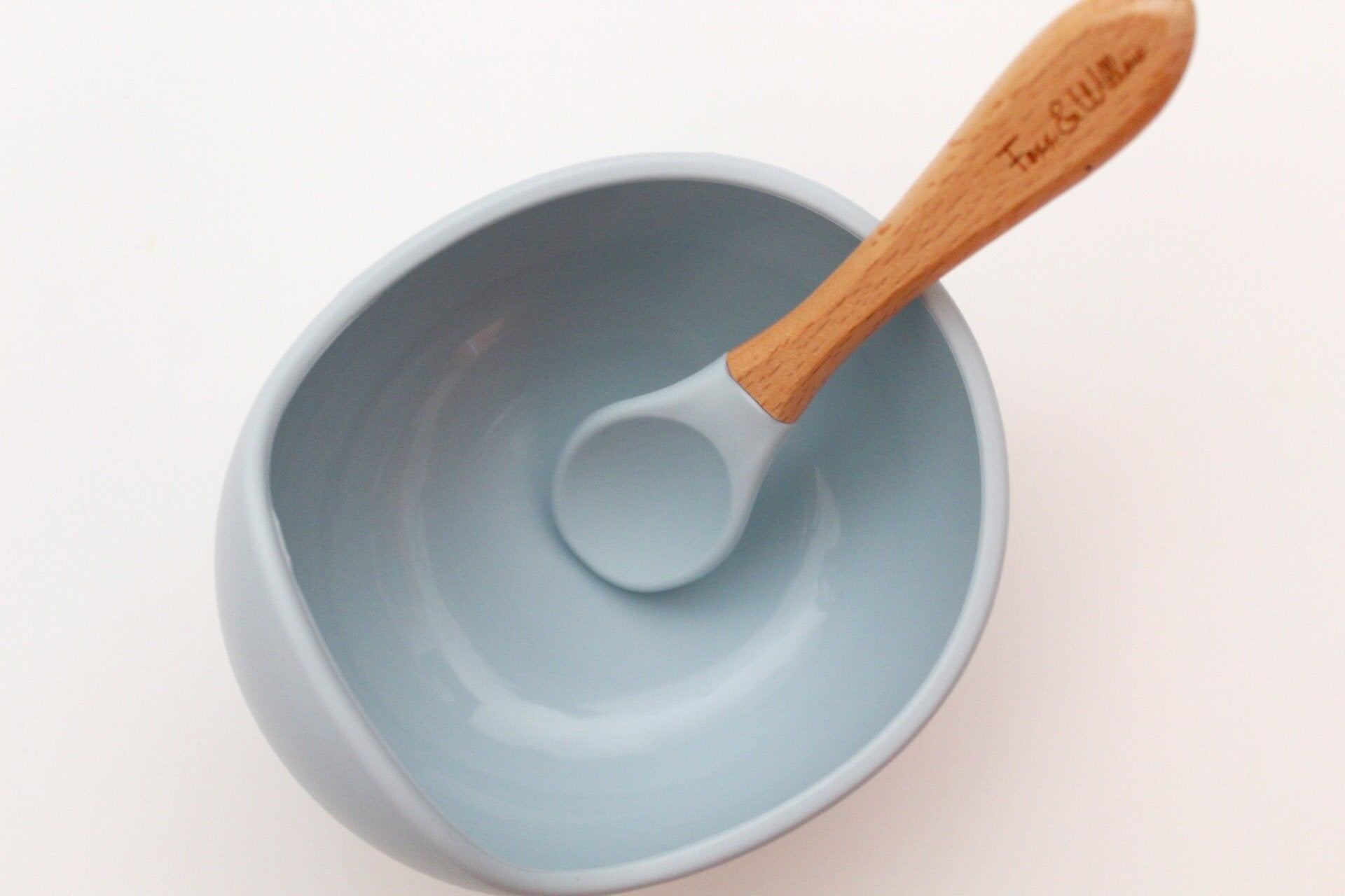 SILICONE BOWL & SPOON Dusty Blue