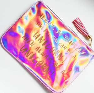 Kids Holographic Be Yourself or A Unicorn Large Pouch Bag
