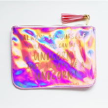 Load image into Gallery viewer, Kids Holographic Be Yourself or A Unicorn Large Pouch Bag