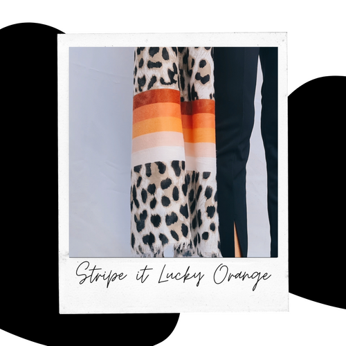 Stripe it Lucky Orange Multiway Scarf