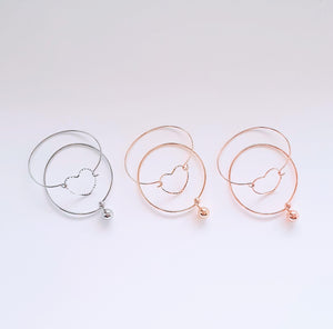 Gold Love Twin Bangle Set