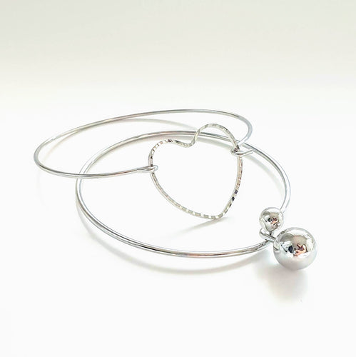 Silver Love Twin Bangle Set