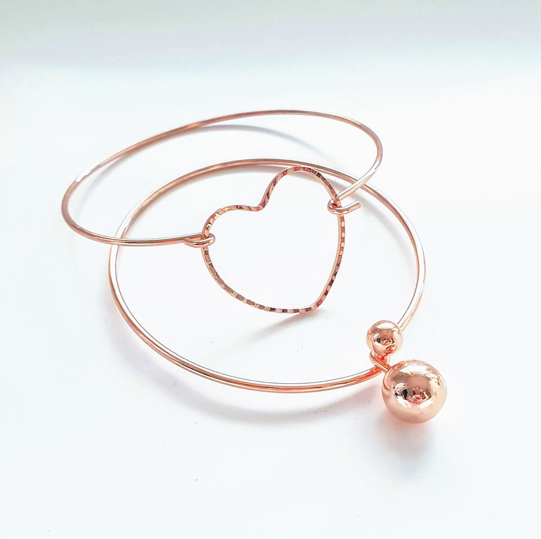 Rose Gold Love Twin Bangle Set