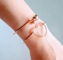 Load image into Gallery viewer, Rose Gold Love Twin Bangle Set
