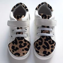 Load image into Gallery viewer, Kai White and Leopard Kids Velcro Trainers