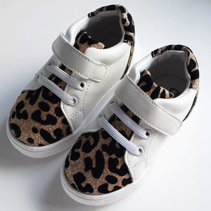 Kai White and Leopard Kids Velcro Trainers