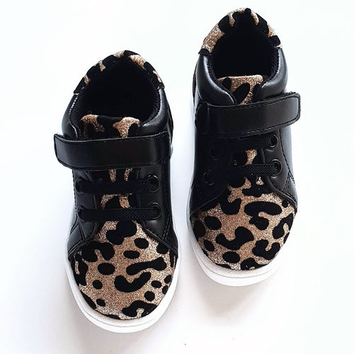 Kai Black and Leopard Kids Trainers
