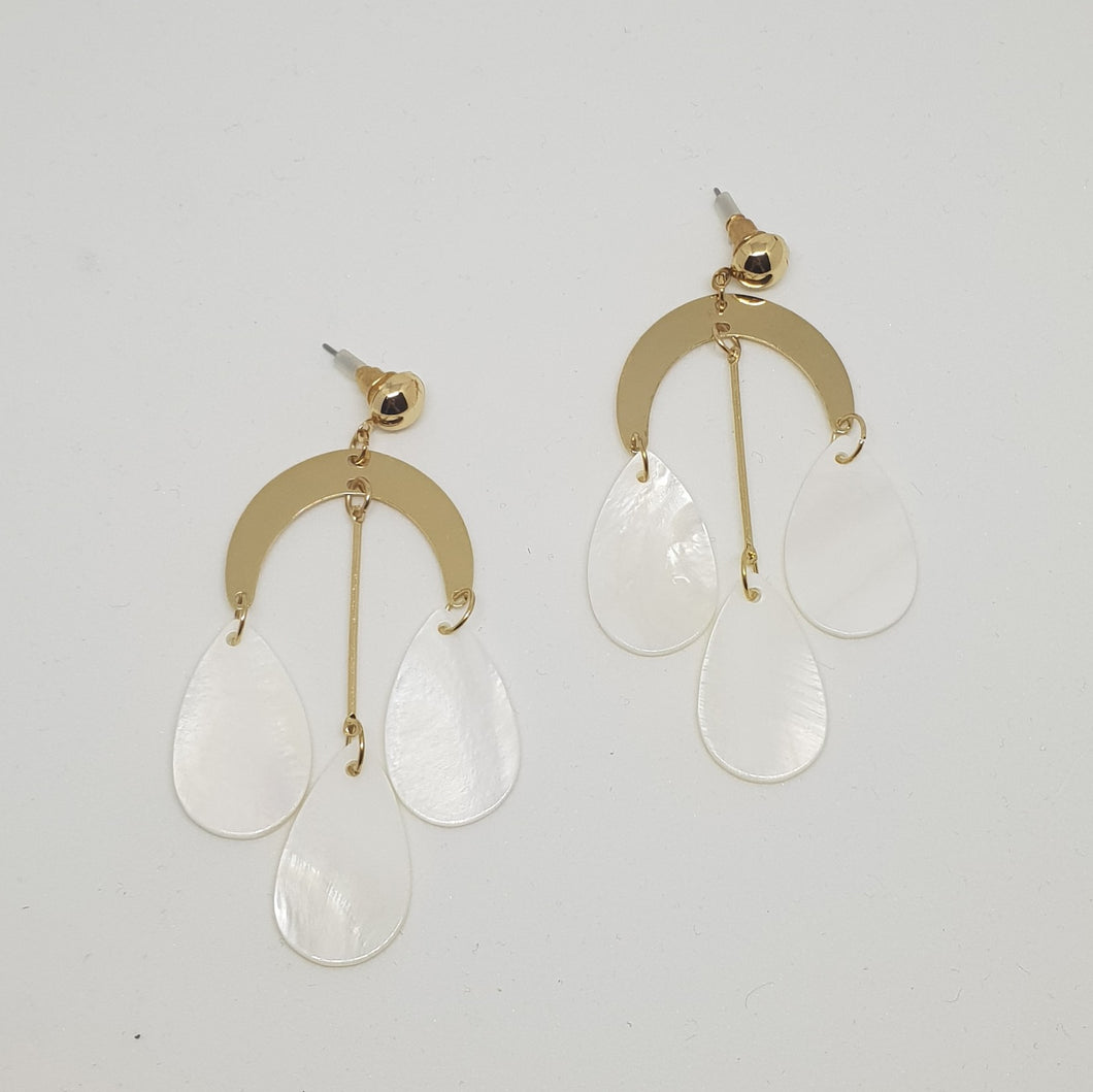 Gold plated and White Pearl Perspex Earrings