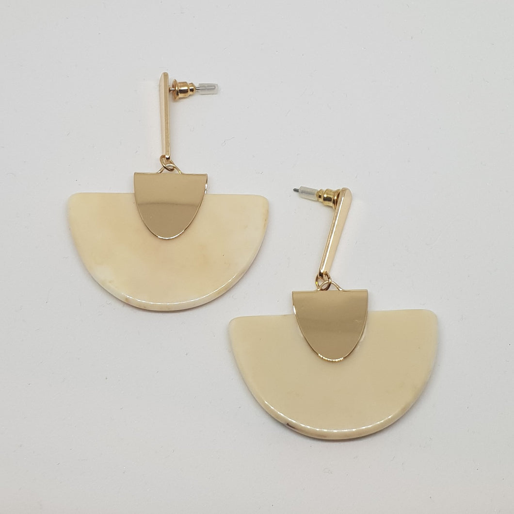 Gold plated and marble Perspex Earrings