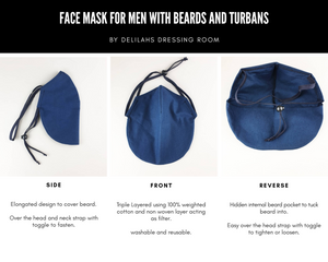 Face Mask for Long Beards and/or Turbans/Headwear- AS SEEN ON TV