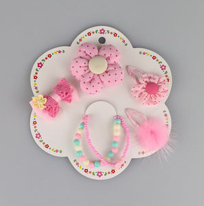 Kids Flower and Bow Hair Clips with Bracelets III