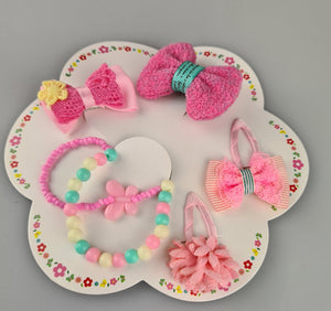 Kids Flower and Bow Hair Clips with Bracelets II