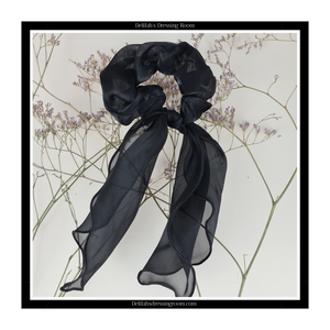 Black Multiway Sheer Organza Scarf Bow Scrunchie