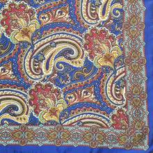 Load image into Gallery viewer, Paisley Printed Silk Scarf - Blue