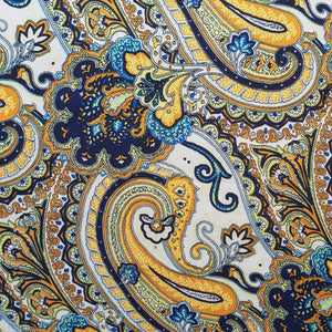 Paisley Printed Silk Scarf - Cream