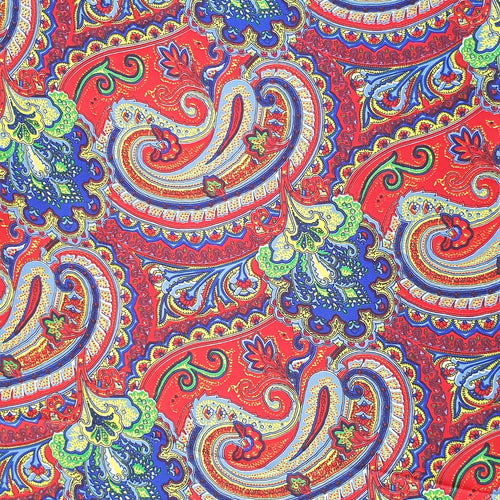 Paisley Printed Silk Scarf - Red