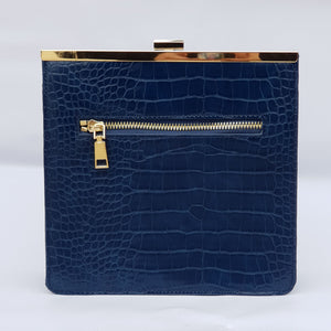 Blue Crocodile Leather Look Bag with Gold Chain