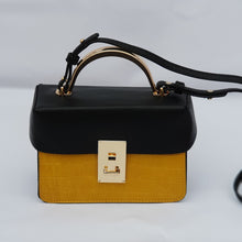 Load image into Gallery viewer, Black and Yellow Mini Cross Body Tote Bag