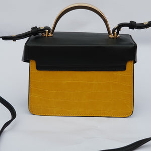 Black and Yellow Mini Cross Body Tote Bag