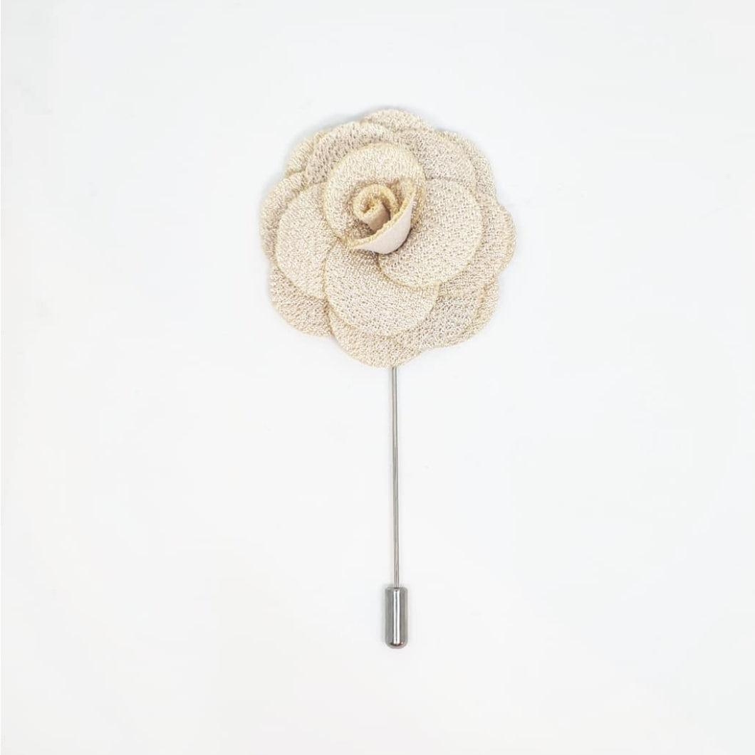 Flower Corsage Lapel Pin - Beige