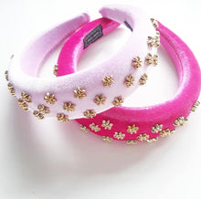 Load image into Gallery viewer, Baby Pink and Gold Embellished Velvet Sponge Headband