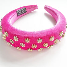 Load image into Gallery viewer, Hot Pink and Gold Embellished Velvet Sponge Headband