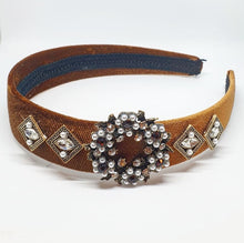 Load image into Gallery viewer, Bronze + Pearl Embellished Headband