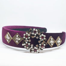 Load image into Gallery viewer, Maroon + Pearl Embellished Headband