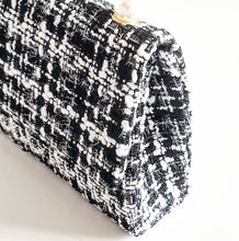 Load image into Gallery viewer, Pearl + Black/White Tweed Tote Bag