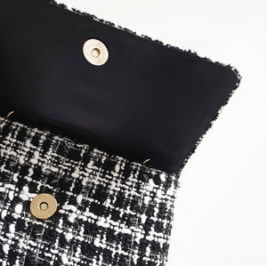 Pearl + Black/White Tweed Tote Bag