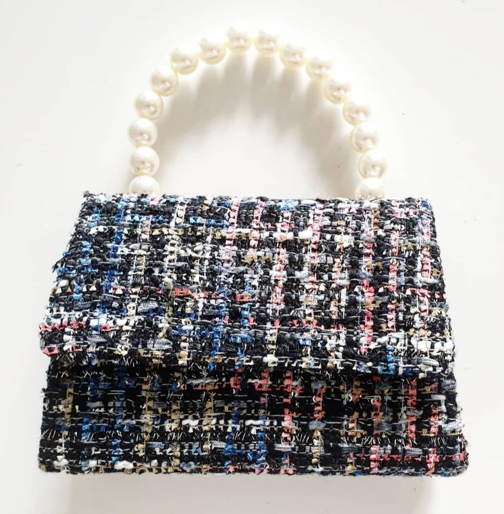 Pearl + Multi Tweed Tote Bag