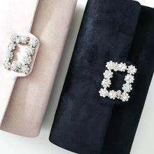 Load image into Gallery viewer, Nude Suede + Rhinestone Evening Clutch Bag