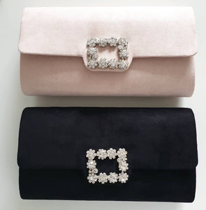 Nude Suede + Rhinestone Evening Clutch Bag