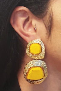 Yellow and Gold Abstract Earrings