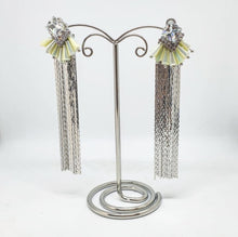 Load image into Gallery viewer, Iridescent and Silver Chain Earrings
