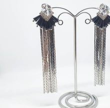 Load image into Gallery viewer, Black and Silver Chain Earrings