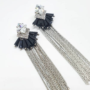 Black and Silver Chain Earrings