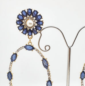 Crystal Blue + Pearl Oval Drop Earrings