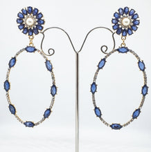 Load image into Gallery viewer, Crystal Blue + Pearl Oval Drop Earrings