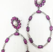 Load image into Gallery viewer, Crystal Cerise + Pearl Oval Drop Earrings