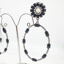 Load image into Gallery viewer, Crystal Black + Pearl Oval Drop Earrings