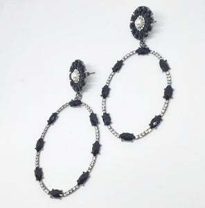 Crystal Black + Pearl Oval Drop Earrings