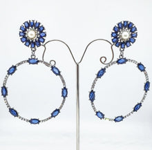Load image into Gallery viewer, Crystal Blue + Pearl Circle Drop Earrings