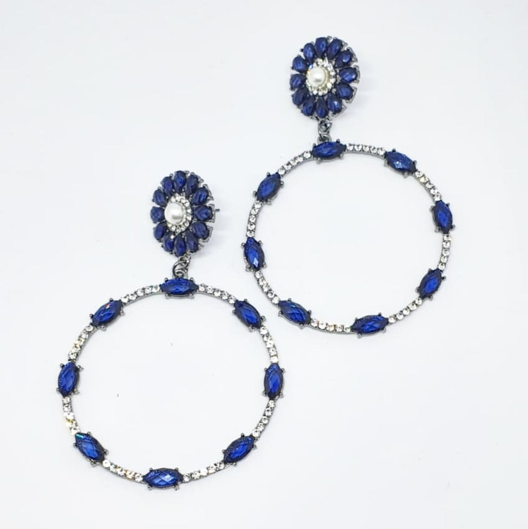 Crystal Blue + Pearl Circle Drop Earrings