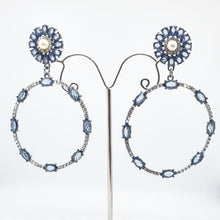 Load image into Gallery viewer, Crystal Ice Blue + Pearl Circle Drop Earrings