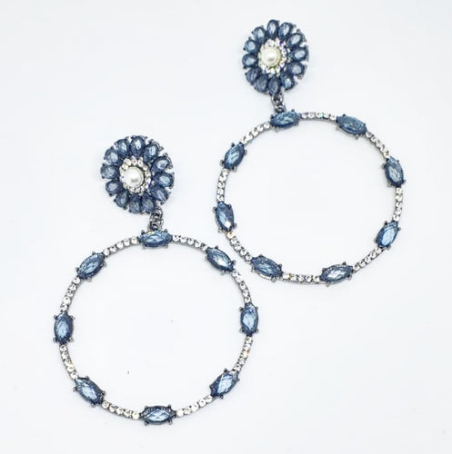 Crystal Ice Blue + Pearl Circle Drop Earrings