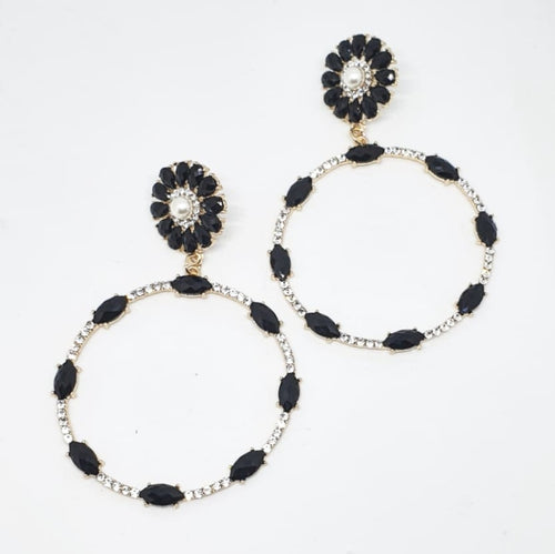 Crystal Black + Pearl Circle Drop Earrings